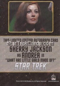 Star Trek The Original Series 50th Anniversary Trading Card Black Border Autograph Sherry Jackson Back