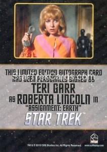 Star Trek The Original Series 50th Anniversary Trading Card Black Border Autograph Teri Garr Back