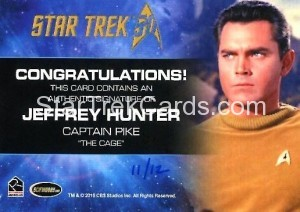 Star Trek The Original Series 50th Anniversary Trading Card Cut Signature Jeffery Hunter Back