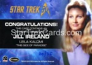 Star Trek The Original Series 50th Anniversary Trading Card Cut Signature Jill Ireland Back