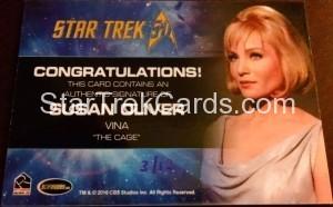 Star Trek The Original Series 50th Anniversary Trading Card Cut Signature Susan Oliver Back