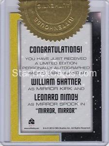 Star Trek The Original Series 50th Anniversary Trading Card DA35 Back