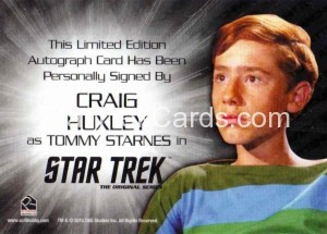 Star Trek The Original Series 50th Anniversary Trading Card Silver Autograph Craig Huxley Back