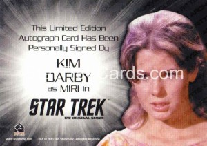 Star Trek The Original Series 50th Anniversary Trading Card Silver Signature Autograph Kim Darby Back