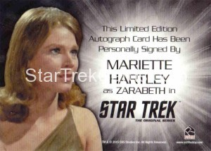 Star Trek The Original Series 50th Anniversary Trading Card Silver Signature Autograph Mariette Harley Back