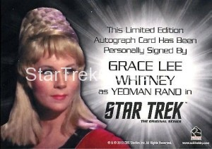 Star Trek The Original Series 50th Anniversary Trading Card Siver Autograph Grace Lee Whitney Back