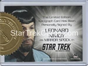 Star Trek The Original Series 50th Anniversary Trading Card Siver Autograph Leonard Nimoy Back