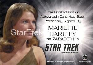 Star Trek The Original Series 50th Anniversary Trading Card Siver Autograph Mariette Hartley Back