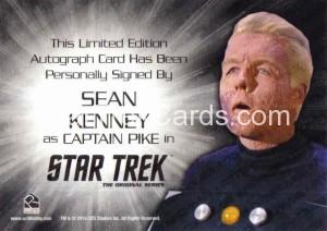 Star Trek The Original Series 50th Anniversary Trading Card Siver Autograph Sean Kenney Back