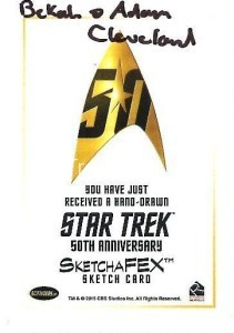 Star Trek The Original Series 50th Anniversary Trading Card Sketch Adam Bekah Cleveland Back