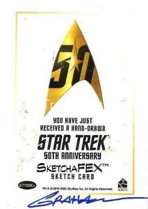 Star Trek The Original Series 50th Anniversary Trading Card Sketch Kevin Graham Back