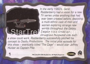 Star Trek The Original Series 50th Anniversary Trading Card The Cage 1 Back