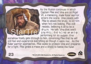 Star Trek The Original Series 50th Anniversary Trading Card The Cage 23 Back