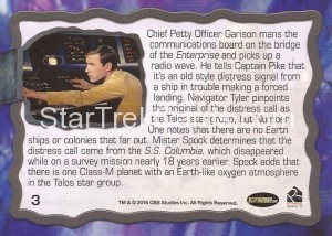 Star Trek The Original Series 50th Anniversary Trading Card The Cage 3 Back