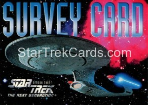 Star Trek The Next Generation Season Three Trading Card Survey Card