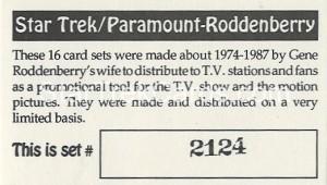 Star Trek Gene Roddenberry Promotional Set 2124 Trading Card 1