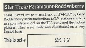 Star Trek Gene Roddenberry Promotional Set 2117 Card 1