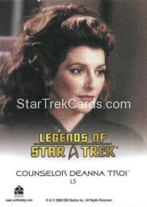 Legends of Star Trek Trading Card Counselor Deanna Troi L5 Back