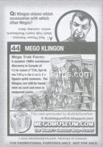 Mego Museum Trading Card 44 Back