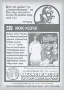 Mego Museum Trading Card 47 Back