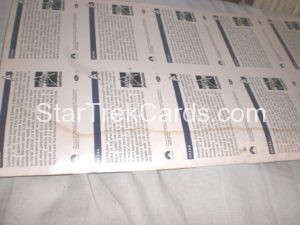 Star Trek 25th Anniversary Series I Trading Card 39 Uncut Sheet Back