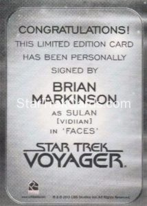 Star Trek 50th Anniversary Trading Card Autograph Brian Markinson Back