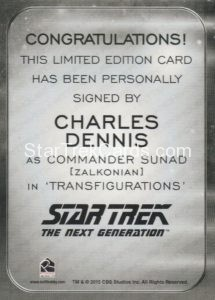 Star Trek 50th Anniversary Trading Card Autograph Charles Dennis Back