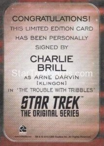 Star Trek 50th Anniversary Trading Card Autograph Charlie Brill Back
