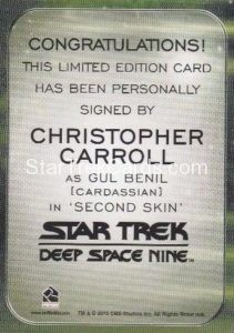 Star Trek 50th Anniversary Trading Card Autograph Christopher Carroll Back