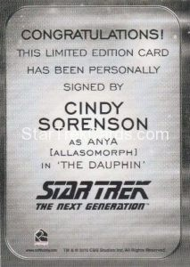Star Trek 50th Anniversary Trading Card Autograph Cindy Sorenson Back