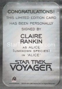 Star Trek 50th Anniversary Trading Card Autograph Claire Rankin Back