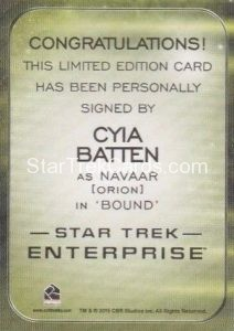 Star Trek 50th Anniversary Trading Card Autograph Cyia Batten Back
