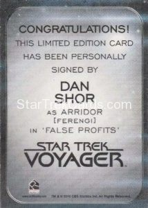 Star Trek 50th Anniversary Trading Card Autograph Dan ShorBack