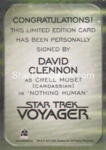 Star Trek 50th Anniversary Trading Card Autograph David Clennon Back