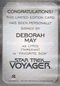 Star Trek 50th Anniversary Trading Card Autograph Deborah May Back