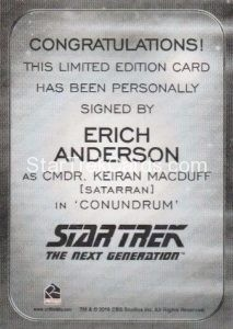 Star Trek 50th Anniversary Trading Card Autograph Erich Anderson Back
