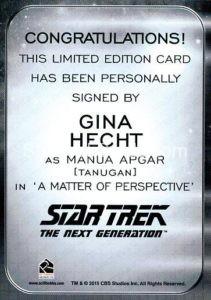 Star Trek 50th Anniversary Trading Card Autograph Gina Hecht Back