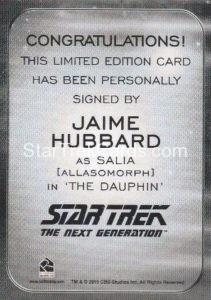 Star Trek 50th Anniversary Trading Card Autograph Jaime Hubbard Back