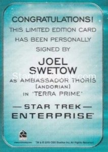 Star Trek 50th Anniversary Trading Card Autograph Joel Swetow Enterprise Back