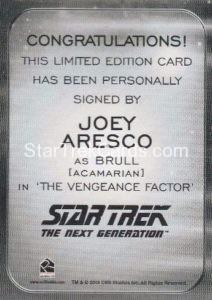 Star Trek 50th Anniversary Trading Card Autograph Joey Aresco Back