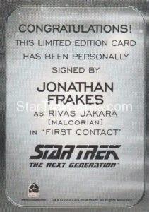 Star Trek 50th Anniversary Trading Card Autograph Jonathan Frakes Back