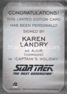 Star Trek 50th Anniversary Trading Card Autograph Karen Landry Back
