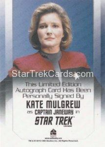 Star Trek 50th Anniversary Trading Card Autograph Kate Mulgrew Back