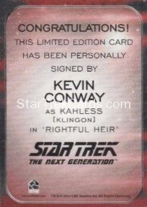 Star Trek 50th Anniversary Trading Card Autograph Kevin Conway Back