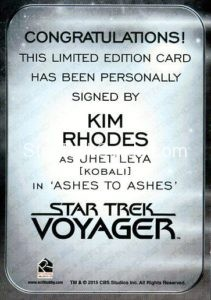 Star Trek 50th Anniversary Trading Card Autograph Kim Rhodes Back