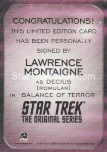 Star Trek 50th Anniversary Trading Card Autograph Lawrence Montaigne Back