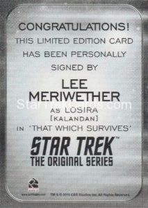 Star Trek 50th Anniversary Trading Card Autograph Lee Meriwether Back 1