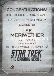 Star Trek 50th Anniversary Trading Card Autograph Lee Meriwether Back