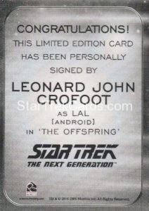 Star Trek 50th Anniversary Trading Card Autograph Leonard John Crofoot Back