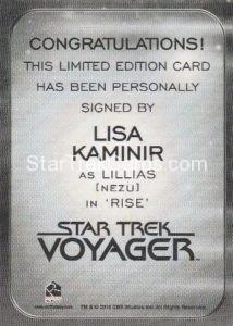 Star Trek 50th Anniversary Trading Card Autograph Lisa Kaminir Back